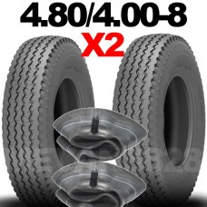 PAIR 4.80/4.00-8 6 PR TRAILER TYRE & FREE TUBE 480 / 400 - 8 6 PLY TRAILER TIRE